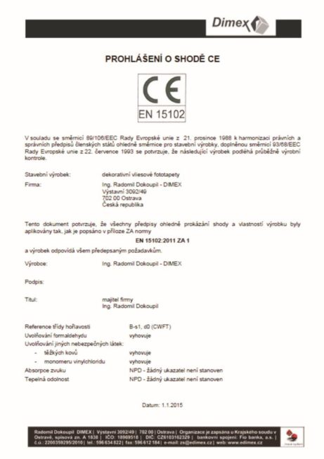Prehlasenie o zhode CE - DIMEX
