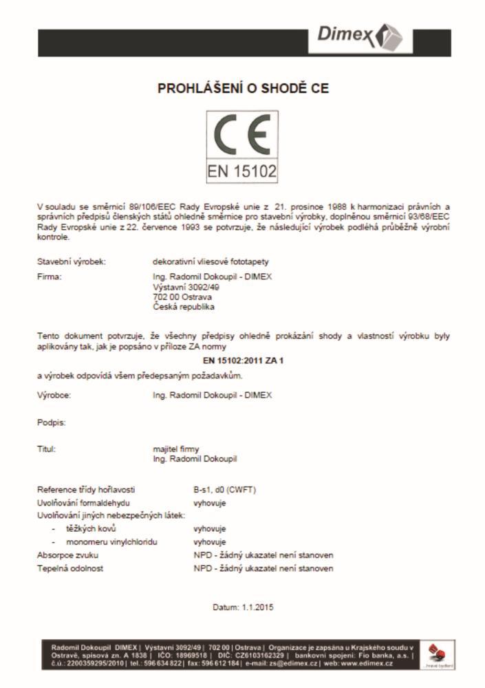 Prehlasenie ozhode CE - DIMEX
